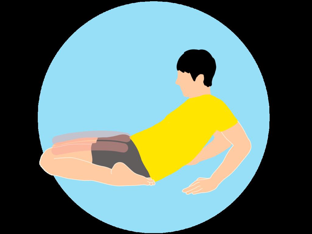 正座姿勢から行うもも前(大腿四頭筋)のストレッチ