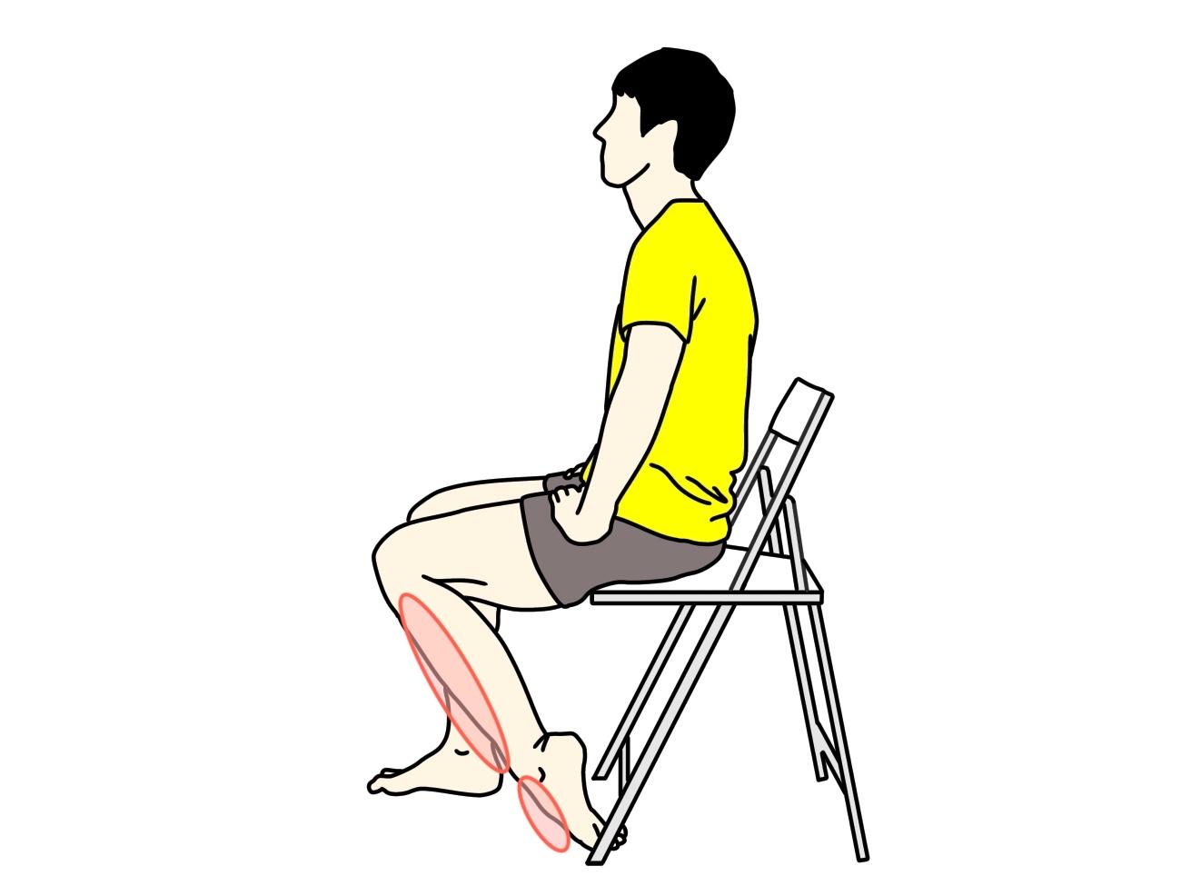 椅子に座りながらできる足の甲〜スネのストレッチで伸びる場所