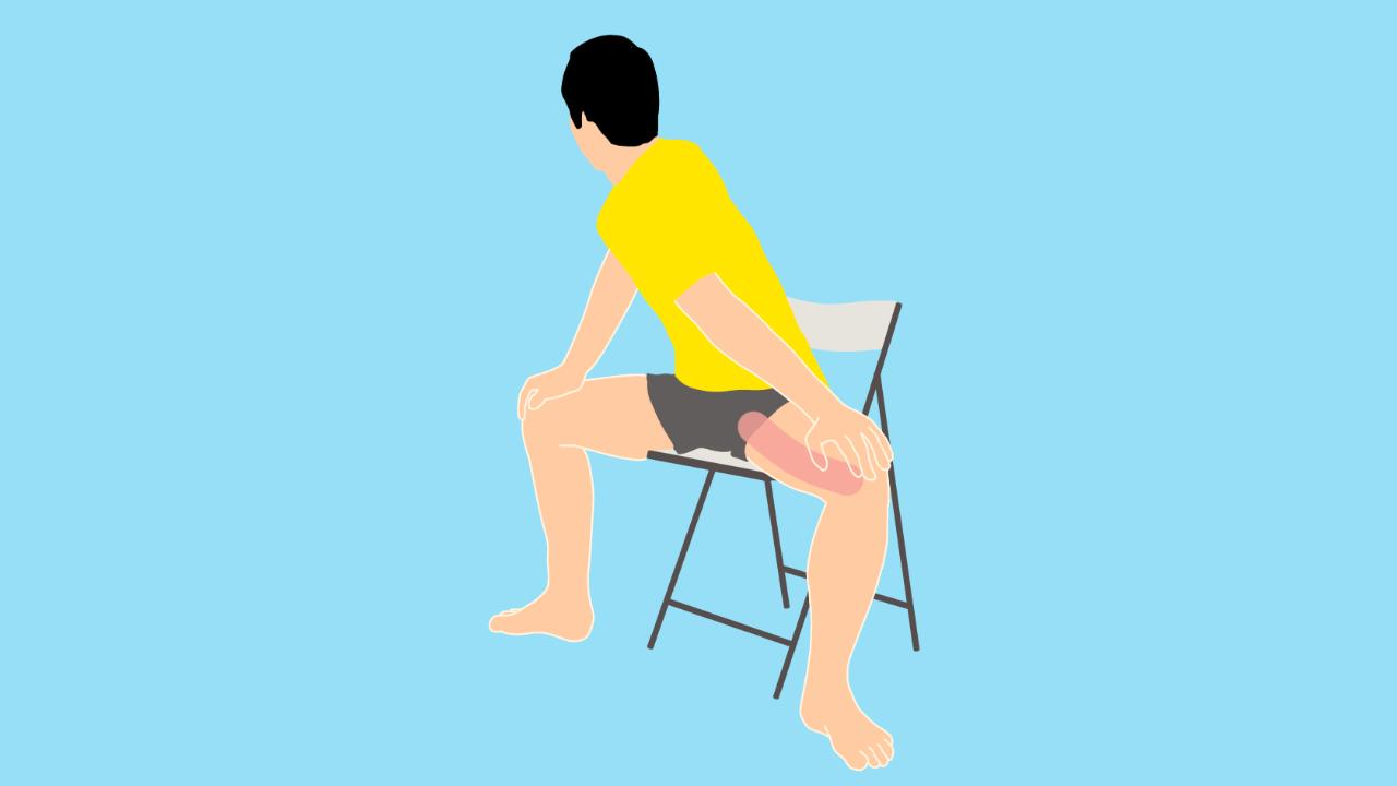 椅子に座って行う内もも(内転筋群)のストレッチ