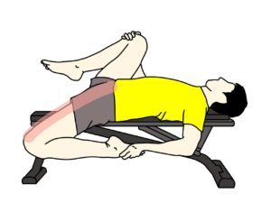 腸腰筋と大腿直筋のストレッチで伸びるところ