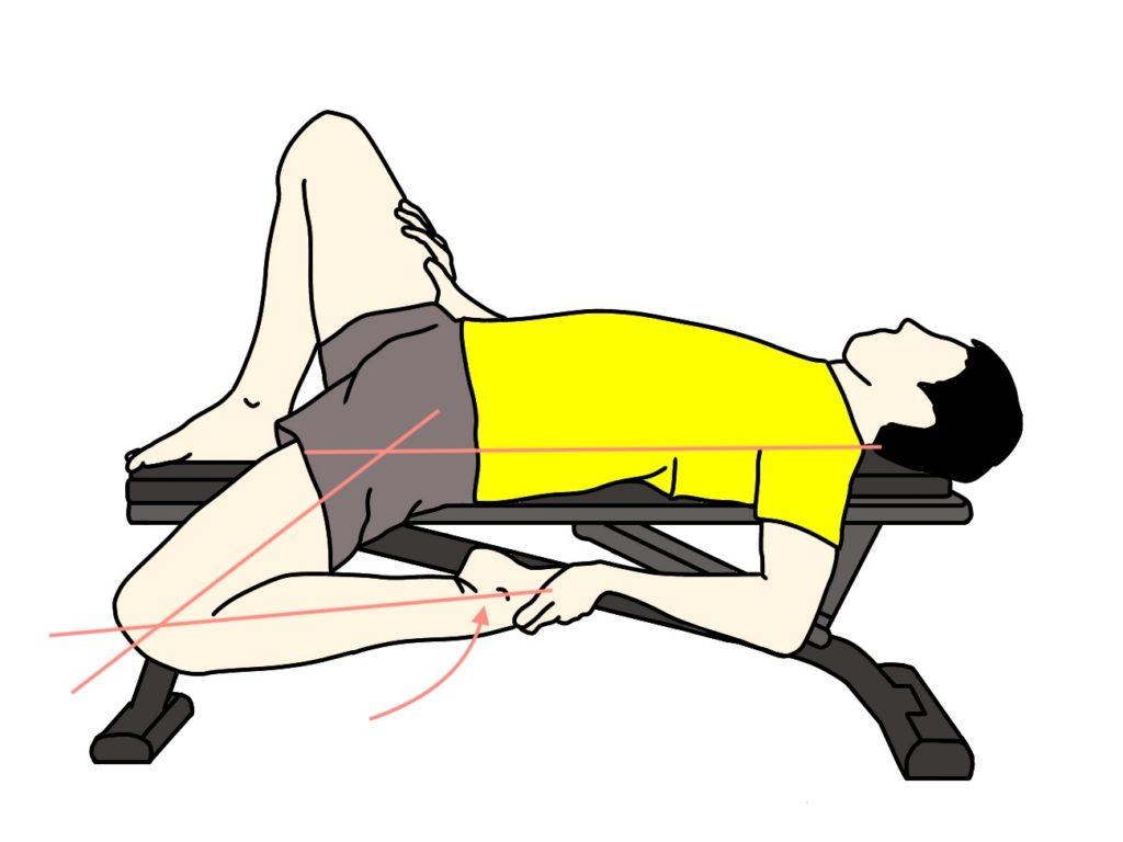 腸腰筋と大腿直筋のストレッチで股関節を伸展させてから膝関節を屈曲させる