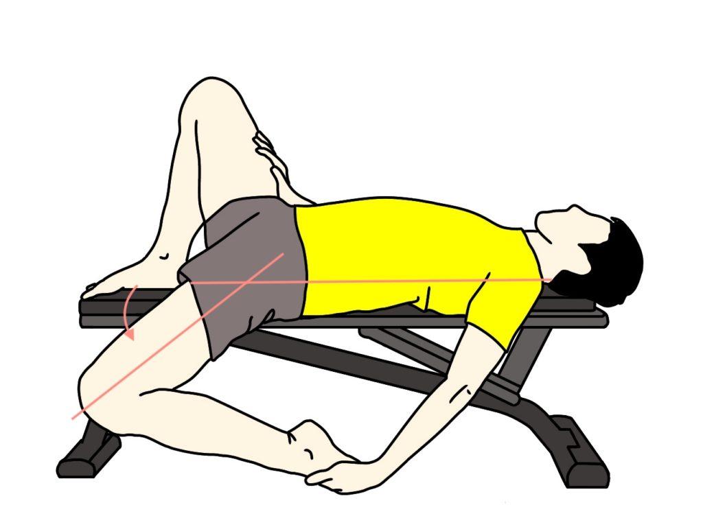 腸腰筋と大腿直筋のストレッチで股関節を伸展させる