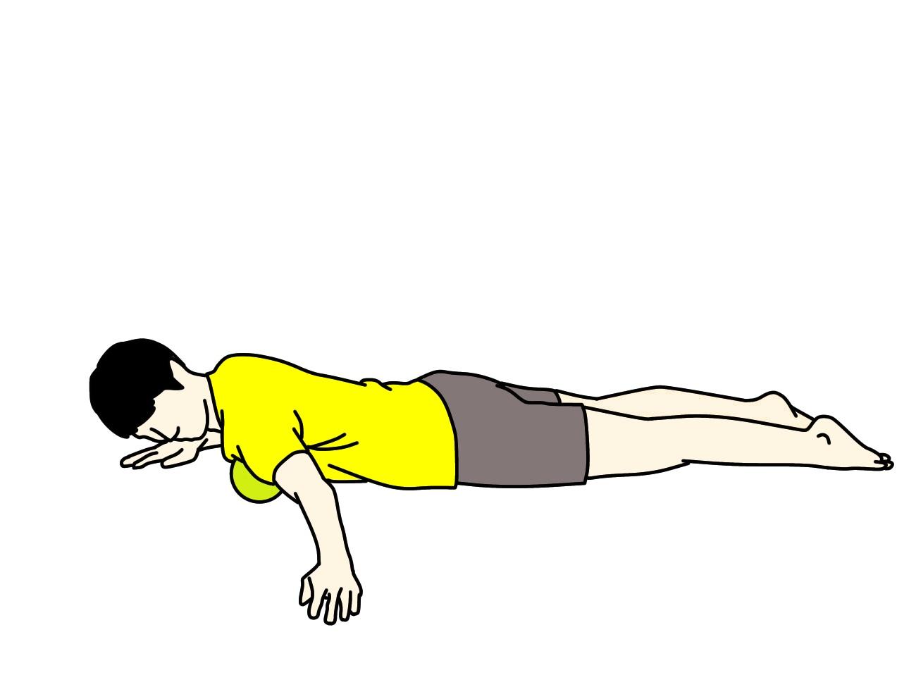 マッサージボールの使い方(大胸筋)
