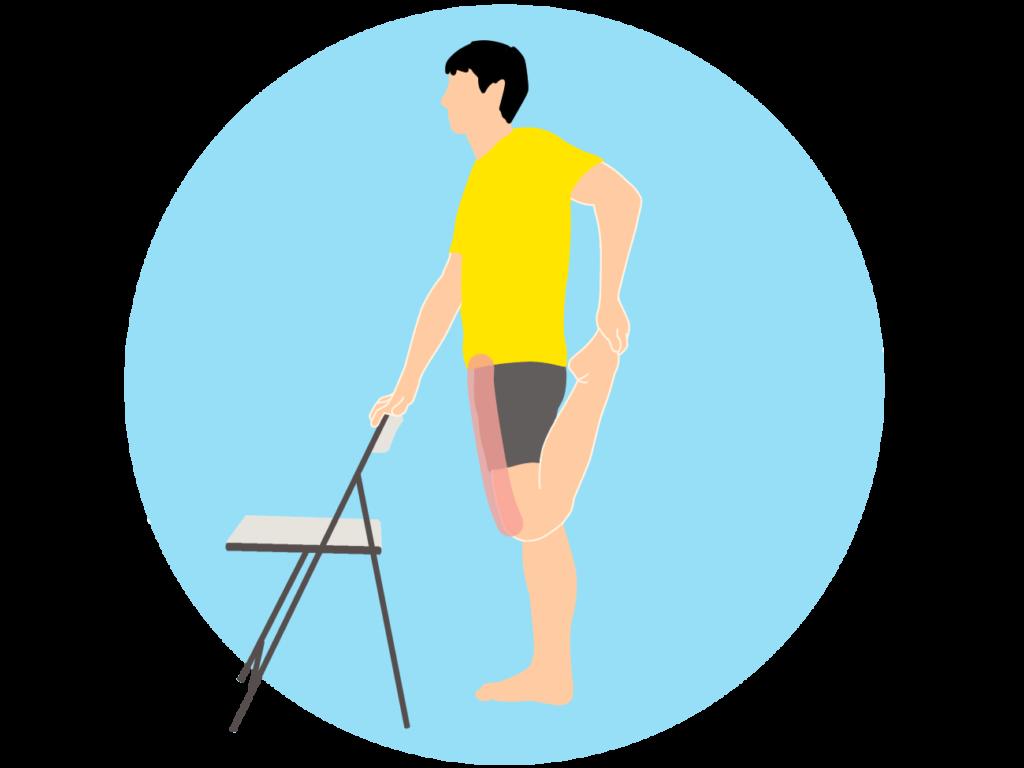 椅子につかまって行うもも前(大腿四頭筋)のストレッチの方法