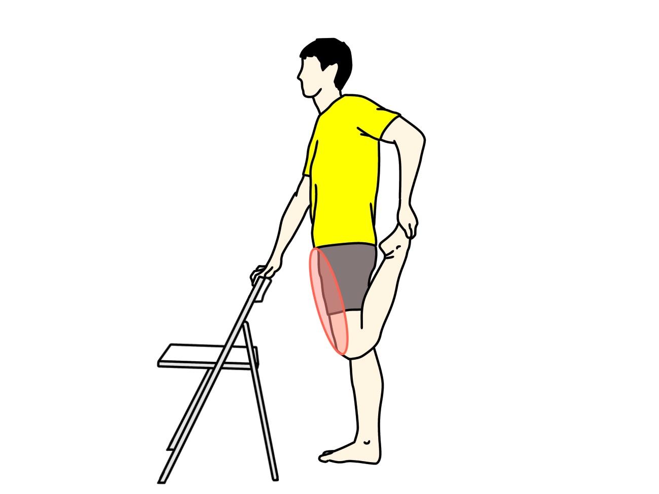 椅子につかまって行うもも前の筋肉(大腿四頭筋)のストレッチで伸びる場所