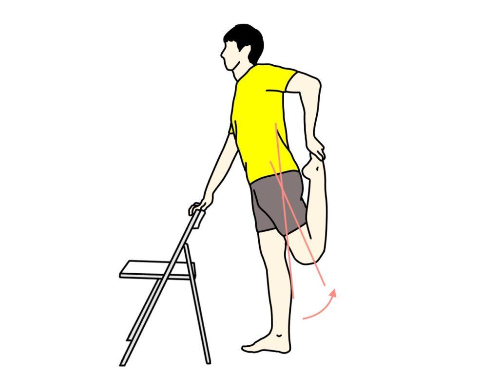 椅子につかまって行うもも前の筋肉(大腿四頭筋)のストレッチの方法3