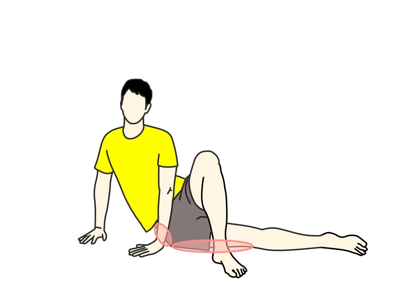 大腿筋膜張筋のストレッチで伸びる場所