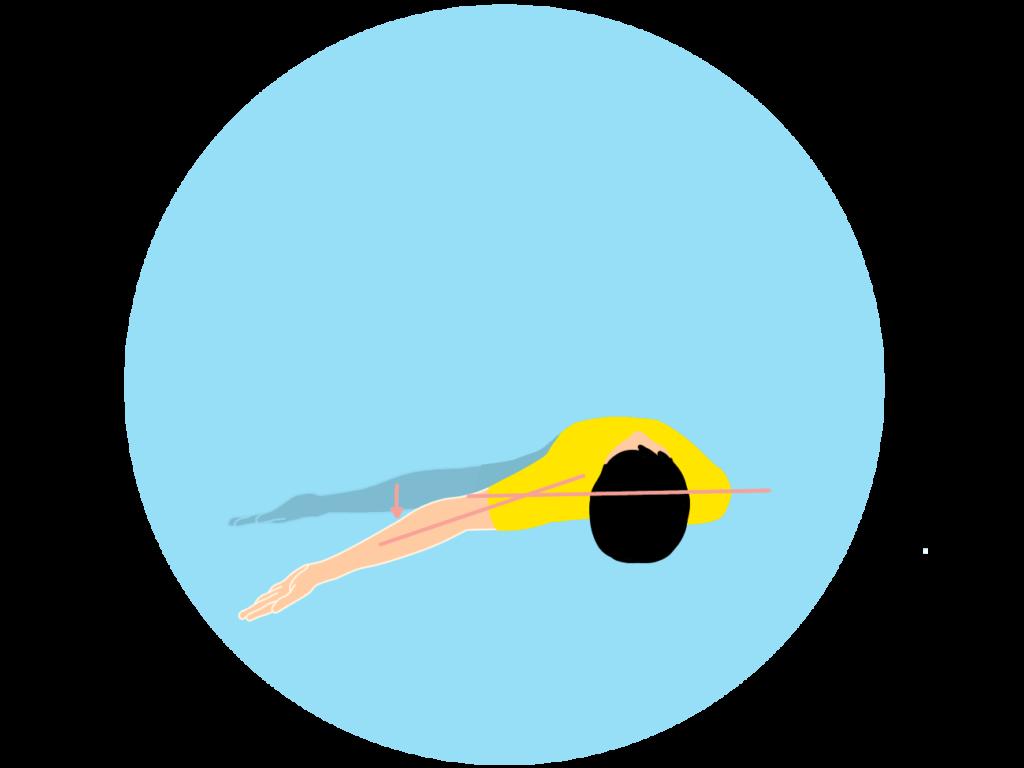腕が胸の後ろに伸びる動作(肩関節の水平伸展)