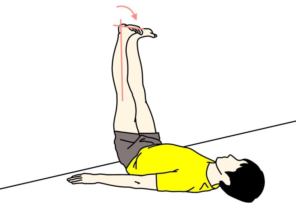 壁に脚をかけて行う行うもも裏(ハムストリングス)とふくらはぎ(下腿三頭筋)のストレッチの方法