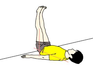 壁に脚をかけて行う行うもも裏(ハムストリングス)のストレッチの方法