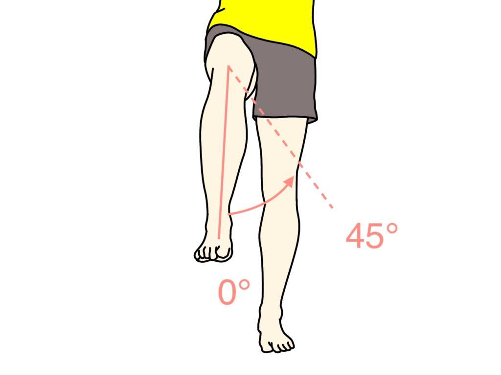 太ももを外へ捻る動作(股関節の外旋)の関節可動域(ROM)