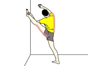 壁に足をつけて行うもも裏(ハムストリングス)のストレッチの方法