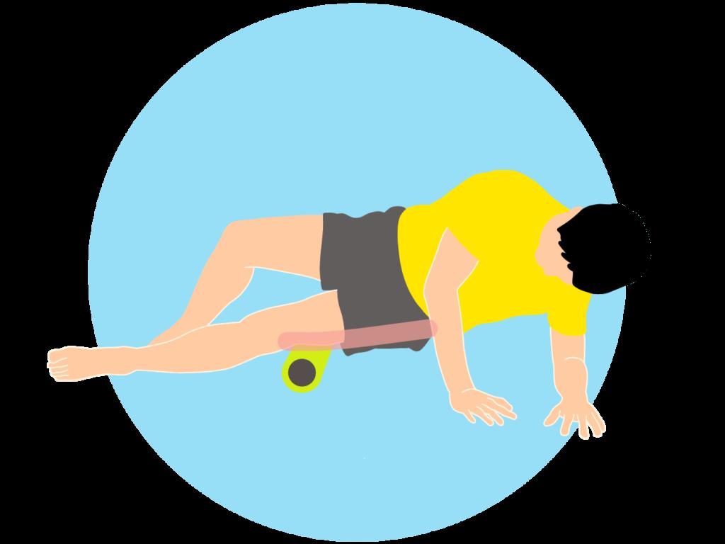 フォームローラーの使い方【太ももの外側(大腿筋膜張筋〜腸脛靭帯)】