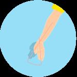 手首を小指側に曲げる動作(手首の尺屈)