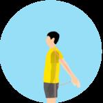 腕を体の後ろに上げる動作(肩関節の伸展)