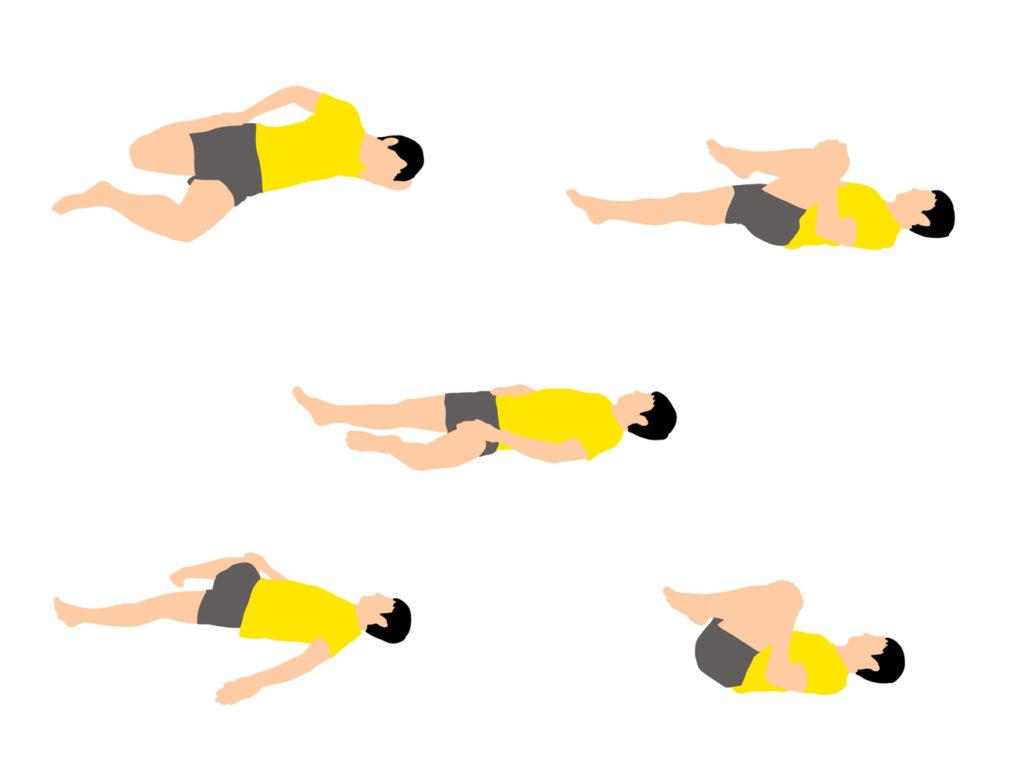 腰まわりがスッキリする寝ながらできるストレッチプログラム(5種目)