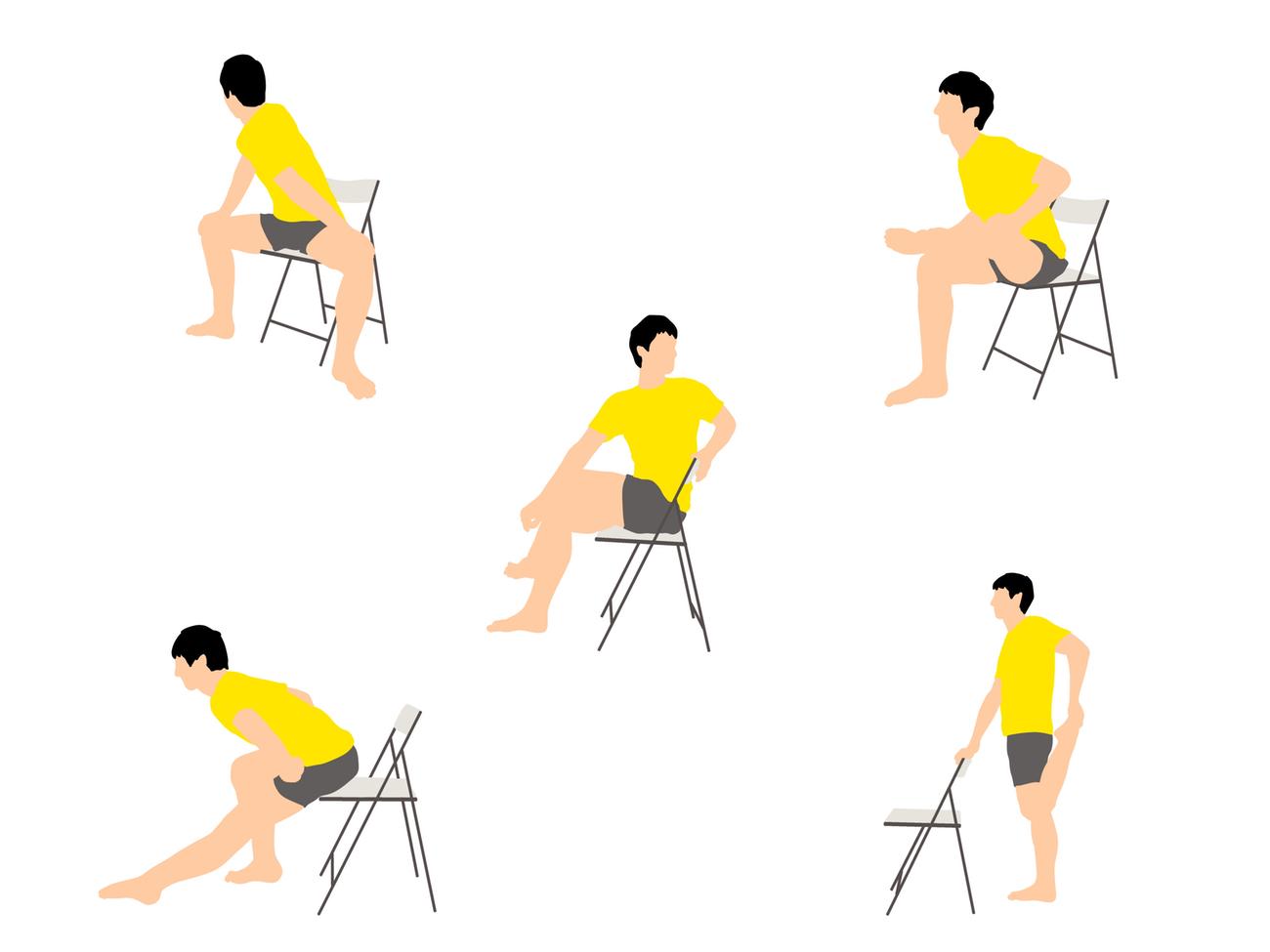椅子に座ったまま気軽に行える腰まわりがスッキリするストレッチプログラム(5種目)