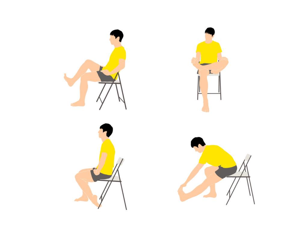 椅子に座ったまま気軽に行えるふくらはぎがスッキリするストレッチプログラム(4種目)