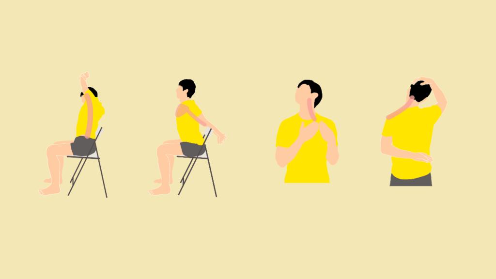 椅子に座りながらできる肩こり・猫背予防のための4種目ストレッチメニュー