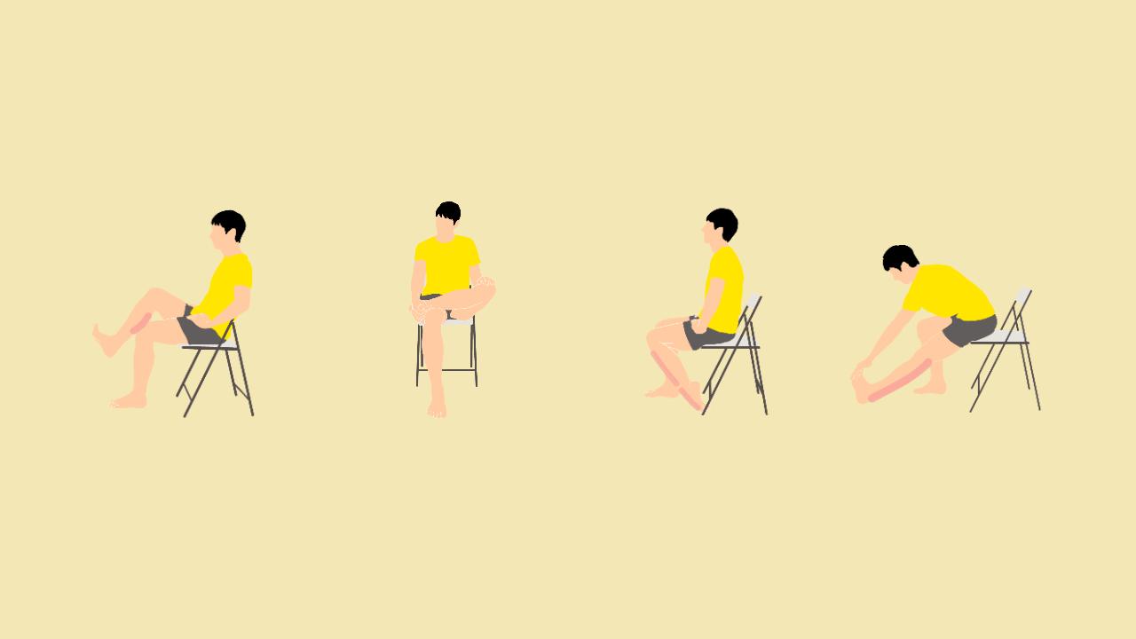 椅子に座りながらできるふくらはぎのむくみを解消するためのストレッチメニュー