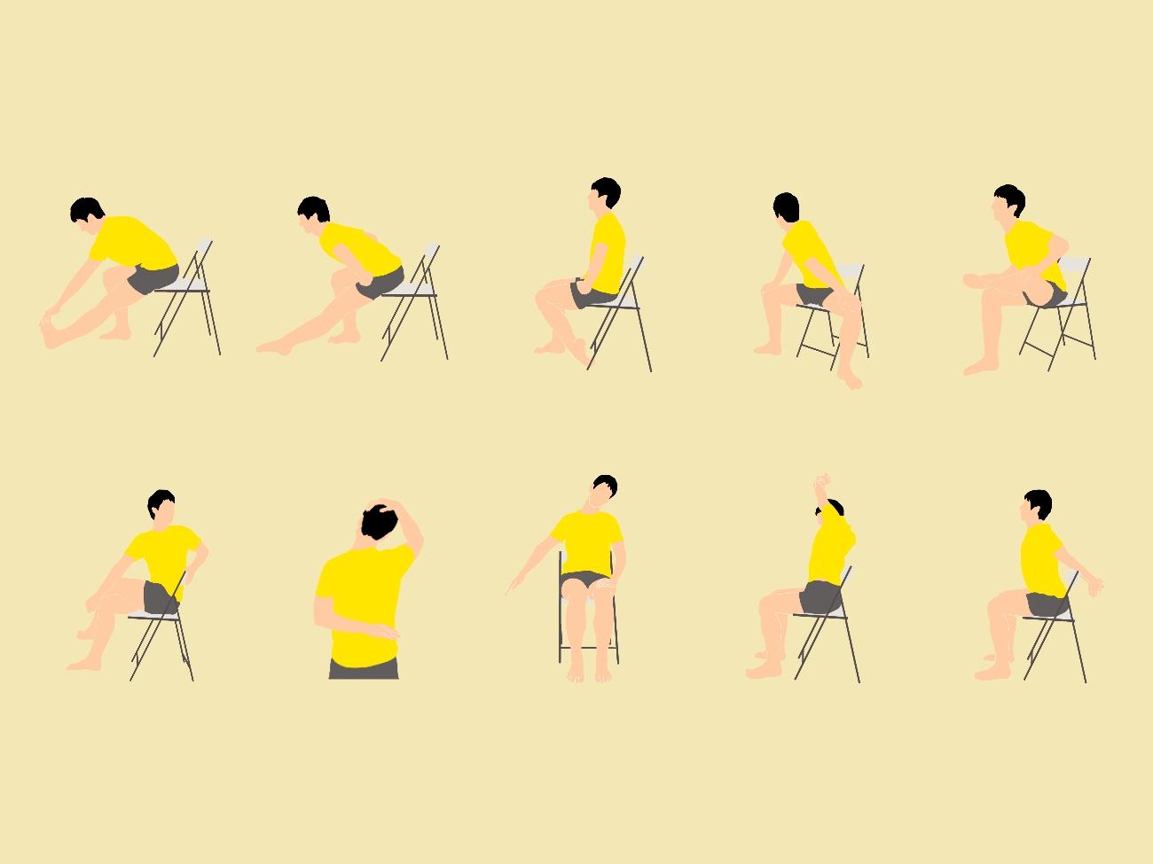 椅子に座ったままここまでストレッチできる!16種のストレッチで全身スッキリ