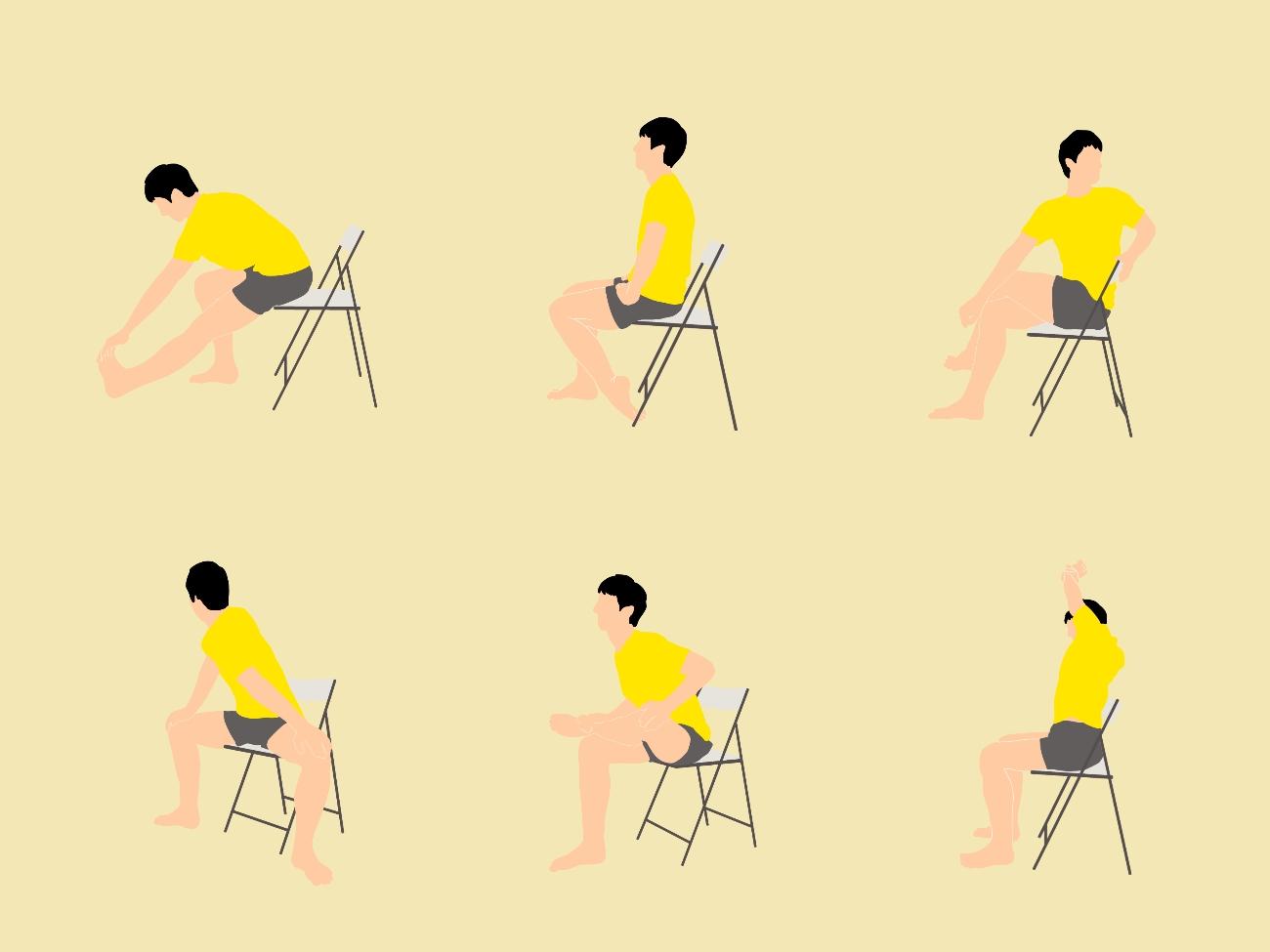 椅子に座りながらストレッチプログラム