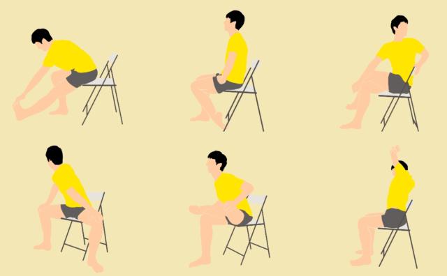 椅子に座ったままここまでストレッチできる!16種のストレッチで全身スッキリ!