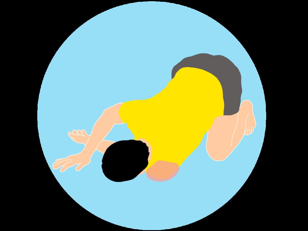 床で行う肩(三角筋後部)のストレッチの方法