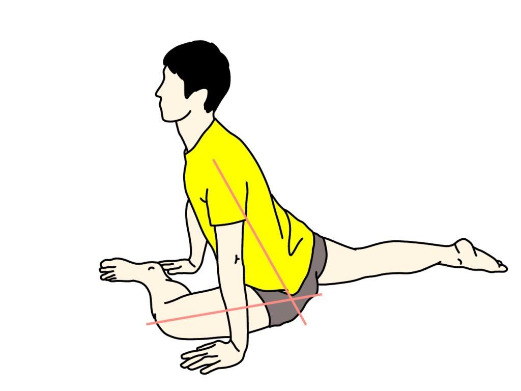 脚を前後に開いた姿勢で行うお尻(大殿筋)のストレッチ