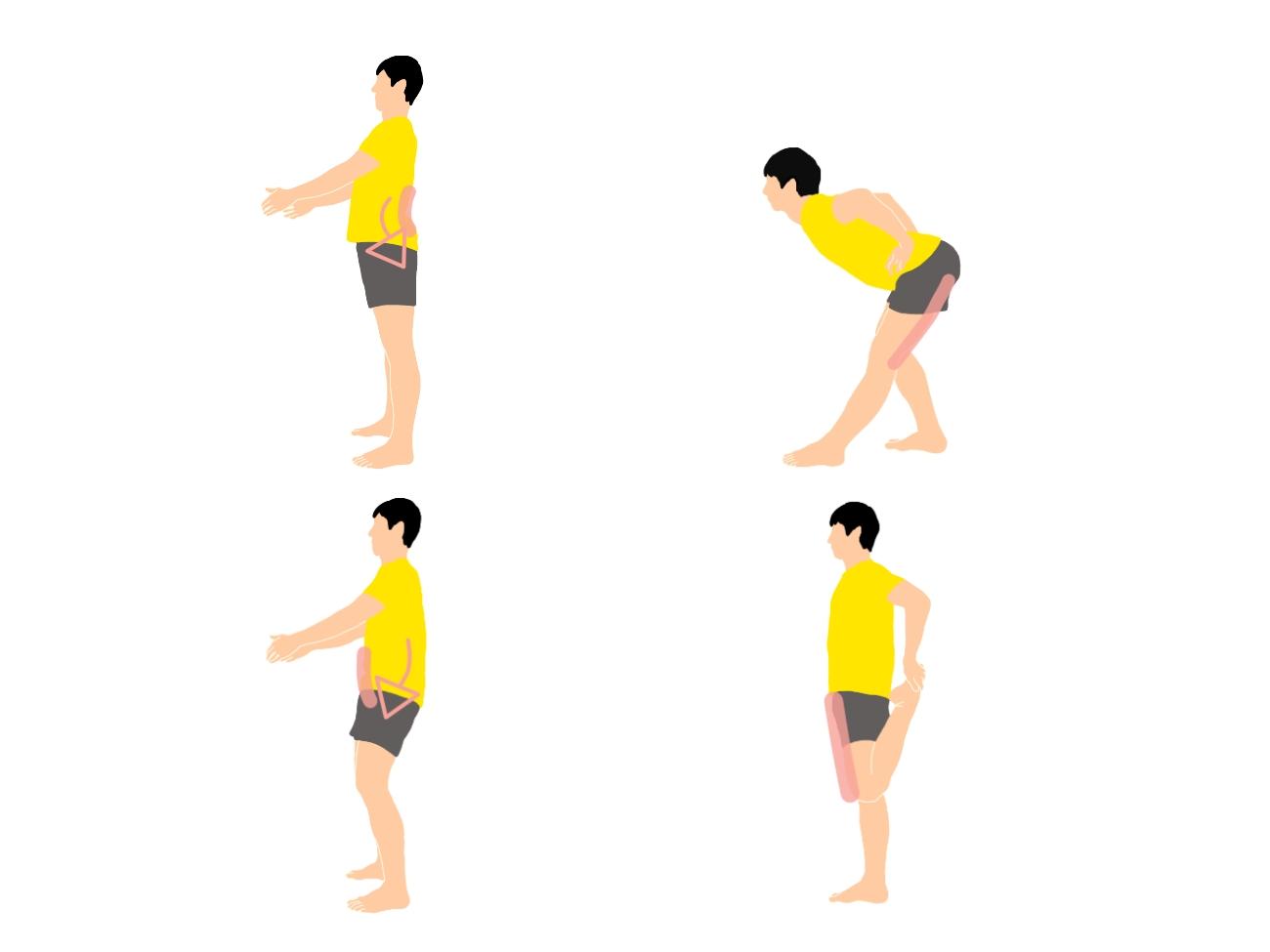 骨盤の前傾と後傾を意識して行うハムストリングスと大腿四頭筋のストレッチ