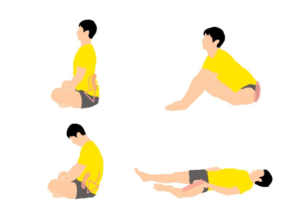 骨盤の前傾と後傾を意識して行う大殿筋と内転筋のストレッチ