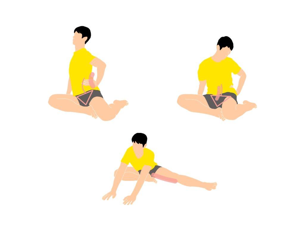 内転筋のストレッチを骨盤前傾と後傾の両方のポジションでストレッチしてみよう