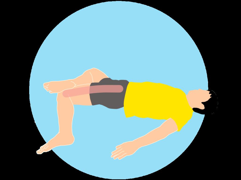 太ももの外側(大腿筋膜張筋〜腸脛靭帯)のストレッチ