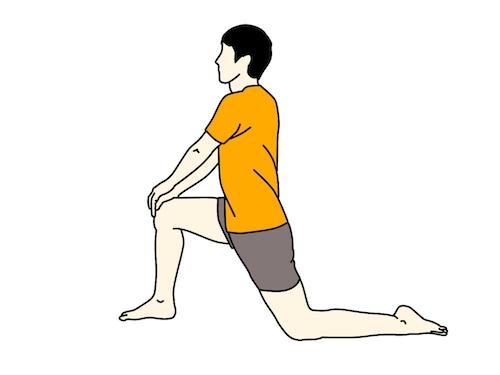 腸腰筋(骨盤前)のストレッチのイラスト