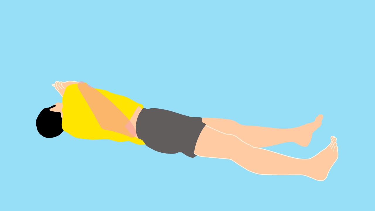 上体をひねって行う背中のストレッチ
