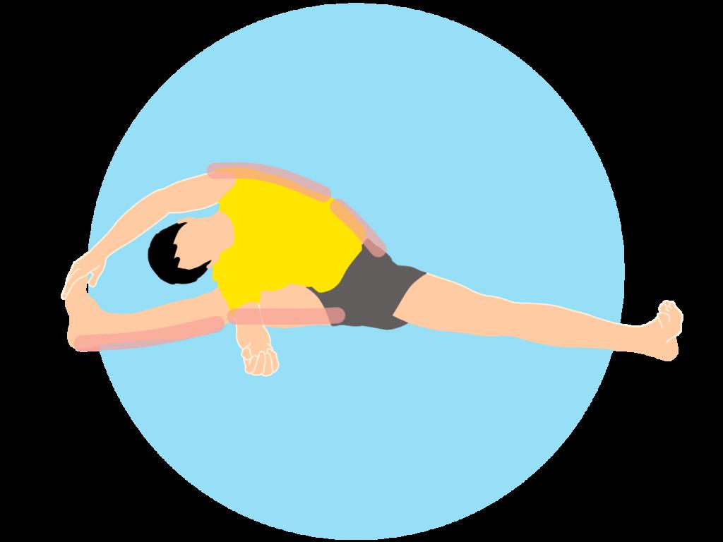 開脚姿勢で行う内もも(内転筋)と体側のストレッチ