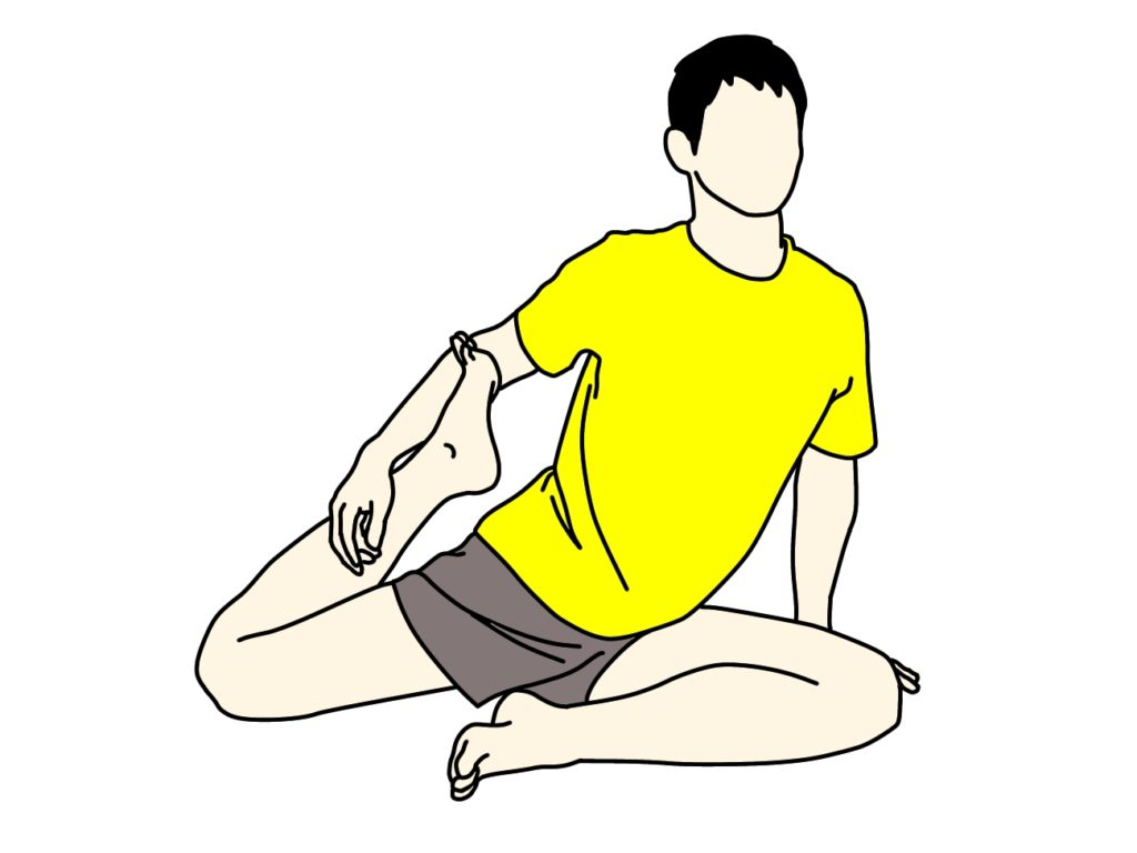 鳩のポーズのような姿勢で行うもも前(大腿四頭筋)を伸ばすストレッチ